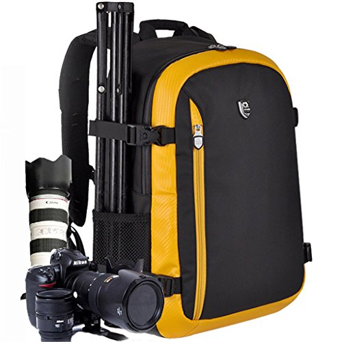 YuHan Oxford Large Capacity Multi-function Waterproof Anti-shock SLR/ DSLR Gadget Camera Bag Professional Gear Photography Travel Backpack Rucksack with Inner Padding and Extra Rain Cover for Canon Nikon Sony Nikon Olympus Samsung Black + Yellow