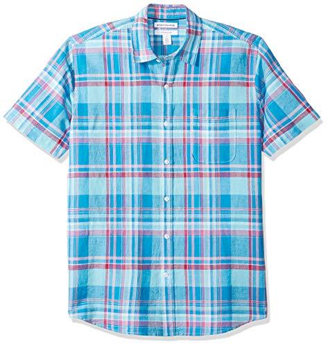 Amazon Essentials Herren-Hemd, Kurzarm, reguläre Passform, bedruckt, aus Leinen, Aqua Plaid, US L (EU L)