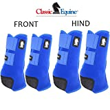 Classic Equine Medium Legacy2 Horse Front Hind Sports Boots 4 Pack Blue