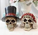 Ebros Calaveras De Boda Love Never Dies Wedding Bride and Groom Skulls Figurine Set 5.5' Tall Day of The Dead DOD Skulls Ossuary Macabre Graveyard Skeletons Spooky Halloween Decor Statues