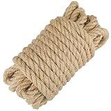 jijAcraft Corde de Jute Ficelle Corde Chanvre 12mm d'épaisseur pour la Décoration, Bricolage Artisanat, Jardinage, Arbre à Chat (10 mètres)
