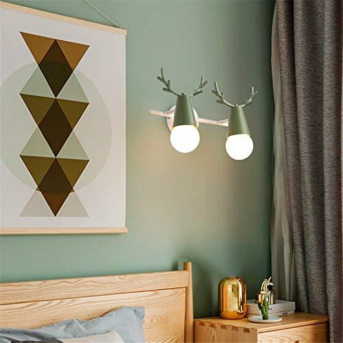 LED lámpara de pared moderna Lámpara de pared Macaron lámpara de pared de la cabecera espejo simple faros de dibujos animados cabeza de ciervo fondo lámpara de pared diámetro 35 CM * alto 15 CM