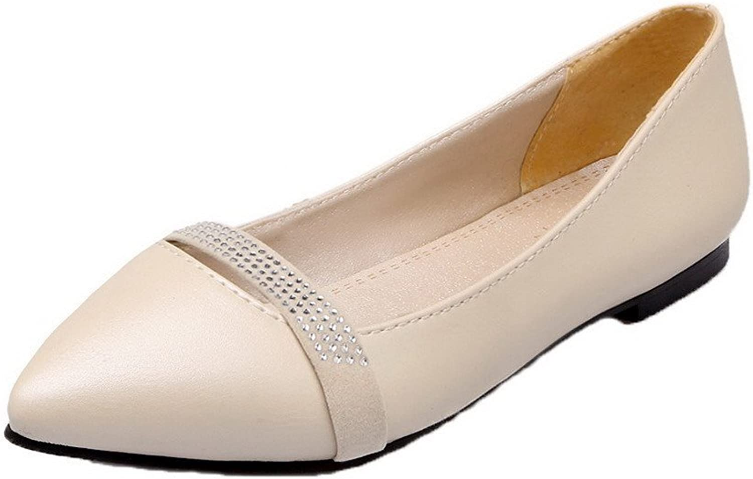 WeiPoot Women's PU Low-Heels Solid Pull-On Closed-Toe Pumps-shoes