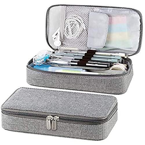Estuche para lápices de gran capacidad de almacenamiento para rotuladores, organizador de escritorio, bolsa gris