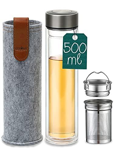 Teeflasche mit Sieb to go - Auslaufsicher - Doppelwandig - 500 ml Glas Trinkflasche inkl. Filztasche