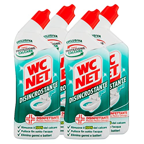 Wc Net - Disincrostante Disinfettante Gel per Sanitari e Superfici, Pulitore Liquido per Wc, 700 ml x 4 Pezzi