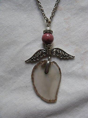 Natural mente – Collier, longue, pierre naturelle, agate, collier, chaîne, Ange, Ange gardien, fabriqué à la main. N ° 988