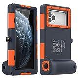 [15m/50ft] Universal Waterproof Housing Case for iPhone11 Pro Max XS Max XR X 8 7 6S Plus, Underwater Dive Case for Galaxy note10 10+ s10 s8 s8p s9 s9plus note8/9 up to 6.8' (navy blue+orange)