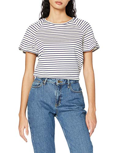 Scotch & Soda Maison Womens Striped tee with smocked short sleeves T-Shirt, Combo A-0217, XS