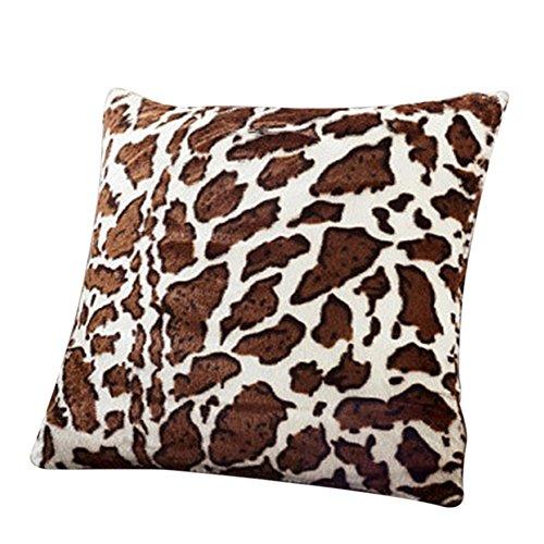 Caolator- Federa per cuscino, fantasia leopardata, in velluto, ideale come decorazione in ufficio, casa o divano, imbottitura non inclusa, 43 cmx 43cm 43*43cm a