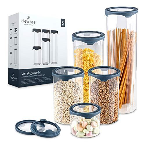 clevrbee® Vorratsgläser – Premium Vorratsglas Set aus [5] Gläsern für die Küche – Vorratsdosen in verschiedenen Größen – mit Ersatzdeckel – spülmaschinenfest, luftdicht & hitzebeständig