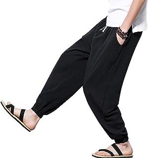MakingDa Mens Cotton Linen Casual Trousers Lightweight Drawstring Pockets Yoga Dance Pants Lounge Beach Bottoms