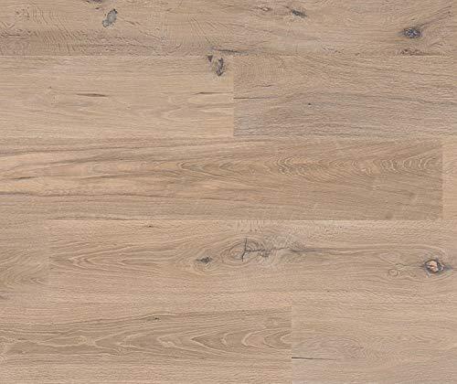 HORI® Parkett 400 Eiche Lyon Landhausdiele 1-Stab rustikal handgehobelt geräuchert mit Fase weiß-geölt I für 49,75 €/m²