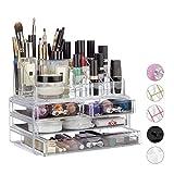 Relaxdays 10023130_50 Organizzatore Make-Up con 4 Cassetti, Trucchi, Porta Rossetti, Acril...