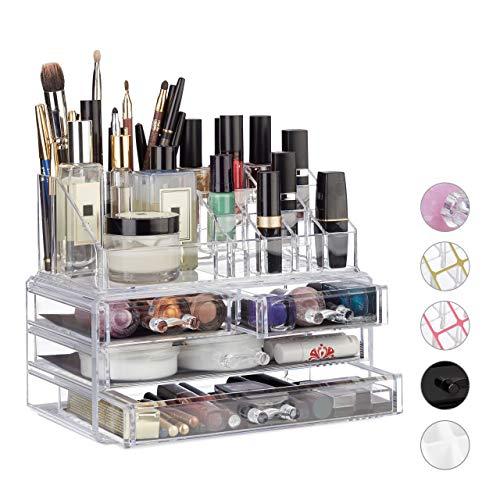Relaxdays 10023130_50 Organizzatore Make-Up con 4 Cassetti, Trucchi, Porta Rossetti, Acrilico, 13.5 x 24 x 19 cm