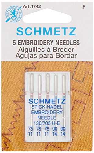 Lowest Price! Euro-Notions Embroidery Machine Needles, Size 3-75/2-90, 5-Pack