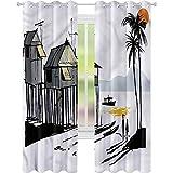 Cortina para ventana de pesca costera pueblo malayo W42 x L84 cortinas para sala de estar