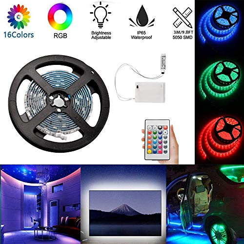 1m RGB LED Strip Lights Battery Powered Flexible LED Rope Lights Waterproof with Battery Power Supply Box and Remote Controller