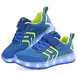 Zapatillas Deportivas LED para Niños, Verano Otoño Zapatos para Correr Respirables Luz Up 7 Colores USB Zapatos Deportivos de Zapatilla Intermitentes Recargables para Niños Niñas (29, Azul)