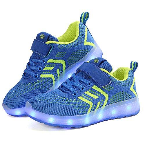 zicai LED Sportschuhe für Kinder USB Aufladen Blinkschuhe Jungen Sneakers Laufschuhe Turnschuhe Trainer Blinkschuhe Schuhe Für Mädchen 25-37 (35, blau)
