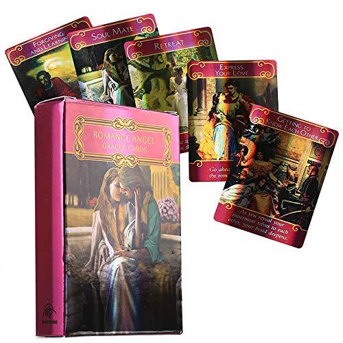 The Romance Angels Tarot Oracle Cards Deck: 44 Cartas, guía PDF en línea, Juegos de Mesa holográficos terrestres Adivinación para Adultos y niños Juego de Mesa Dobble Playing Card