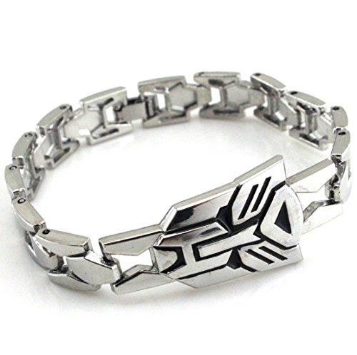 Fashion Vintage Jewelry Mens Titanium Stainless Steel Bracelet Bangles Charm Bangle Bracelets Biker Punk Rock (Silver Transformers)