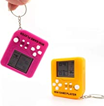 Wbeng Teris Game Stress Relif Handheld Toy Game Console, Key Chain Pendant,2 Pack (ROSEO + Yellow)