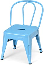 Costzon High Back Kids Metal Stool, Contour School Student Chair, Stackable for Indoor/Outdoor,Preschool, Daycare, Playroom, Nursery Seat, Iron Furniture Stool for Boys, Girls (Blue)