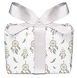 Juego de 5 hojas de papel de regalo con diseño de atrapasueños pastel, cumpleaños, bautizo, comunión, confirmación, Pascua, boda, Navidad, impreso en papel con certificado PEFC, 50 x 70 cm