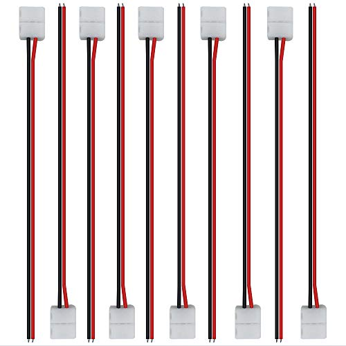 LightingWill 10pcs/Pack Strip Wire Solderless Snap Down 2Conductor LED Strip Connector for 10mm Wide 5050 5630 Single Color Flex LED Strips