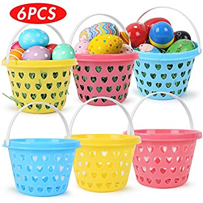 HANSGO Plastic Easter Basket, 6 PCS Small Easter Egg Baskets set with Easter Grass 50g for Kids Easter Eggs Hunts and Gifts