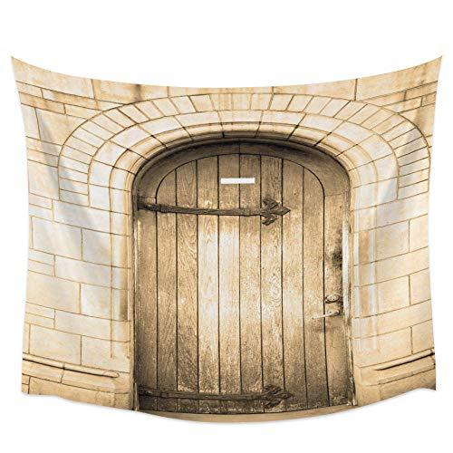 WAXB Tapiz De Arte para El Hogar con Puerta De Madera, Tapiz De Pared para Colgar, Manta De Yoga, Alfombra Rectangular Grande para Decoración De Arte para El Hogar, Alfombra De Playa