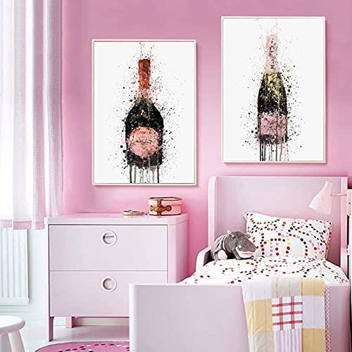 Cuadro en lienzo nórdico abstracto rojo vino arte de la pared imágenes coloridas carteles e impresiones para la sala de estar decoración del hogar 50x70cm (20x28in) x2 sin marco