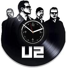 Clock Rock Band Vinyl Art U2 Vinyl Wall Clock Music For Fan U2 Vinyl Record Clock Bono Wall Clock Vintage Birthday For Dad U2 Xmas Idea For Woman U2 Vinyl Clock Rock Music Home Decor Handmade Clock