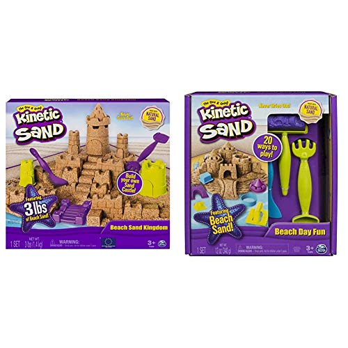 Kinetic Sand Beach Sand Kingdom Playset with 3lbs of Beach Sand for Ages 3 and Up amp Beach Day Fun Playset with Castle Molds Tools and 12 oz of Kinetic Sand for Ages 3 and Up