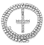 Milacolato Iced Out Chain Pendant for Men 18K Platinum Plated Hip Hop Cluster Simulated Diamond Tennis Necklace Iced Tennis CZ Chain Length Sizes61cm, 76cm