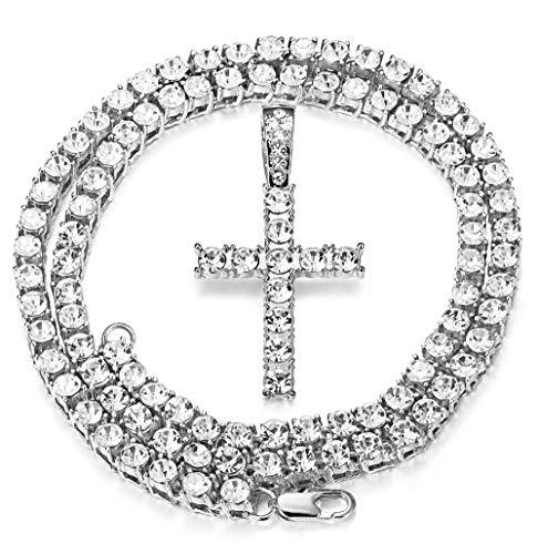 Milacolato lced Out Kettenanhänger für Männer 18 Karat Platiniert Hip Hop Cluster Simuliert Diamant Tennis Halskette Iced Tennis CZ Kettenlänge Sizes 61cm, 76cm