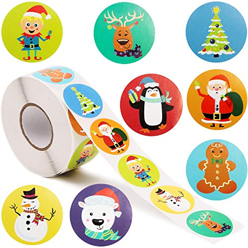 Christmas Stickers, Holiday Sticker Roll (1.5 in, 1000 Pieces)