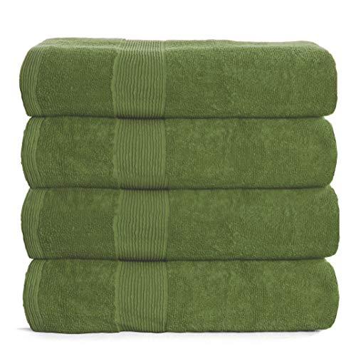 Elvana Home 4 Pack Bath Towel Set 27x54, 100% Ring Spun Cotton, Ultra Soft Highly Absorbent Machine Washable Hotel Spa Quality Bath Towels for Bathroom, 4 Bath Towels Green