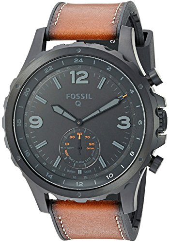 Fossil Q Men's Nate Stainless Steel and Leather Hybrid Smartwatch, Color: Black, Brown (Model: FTW1114) (App To Make Call From Different Number)