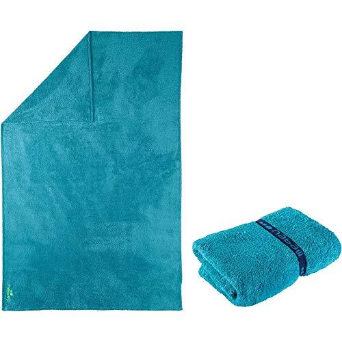 Nabaiji Mikrofaser Badetuch XL 110 x 175 cm weich blau aquamarin Duschen Baden Schwimmen Kinder Erwachsene schnelltrocknend Sport Duschtuch Badetuch