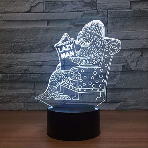 Dichtung 3d Vision Nachtlicht Touch Touch Schalter Usb Leuchten Schöne 7 farbwechsel 3D Lampe Spaß Geschenk für Lazy Man