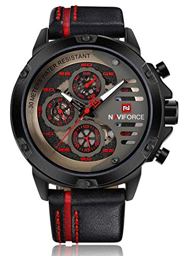 Naviforce - Reloj de pulsera para hombre, resistente al agua, 24 horas, con fecha, cuarzo, de piel, deportivo, resistente al agua