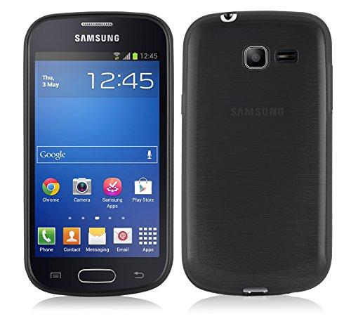 Cadorabo Custodia per Samsung Galaxy Trend Lite in Nero Profondo - Morbida Cover Protettiva Sottile di Silicone TPU con Bordo Protezione - Ultra Slim Case Antiurto Gel Back Bumper Guscio