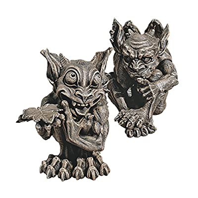 Design Toscano CL93689 Babble and Whisper Gargoyle Statue (Set of 2),Greystone