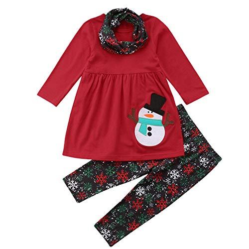 K-youth Conjunto Bebe Niña Navidad Bebe Niño Ropa Bebe Niña Invierno Navidad Manga Larga Vestido + Pantalones + Bufanda Conjunto De Ropa 6 Meses - 4 Años, Reyes Regalo(Rojo, 18-24 Meses)