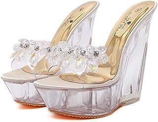 Women's WedgeSandals,Summer Beaded Rhinestone Sandals,Ladies PlatformSandals Open Toe Fish-Billed Sandals