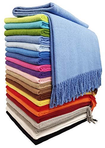 STTS International Baumwolldecke Wohndecke Kuscheldecke Tagesdecke 100% Baumwolle 130 x 170 cm sehr weiches Plaid Rio (Blau)