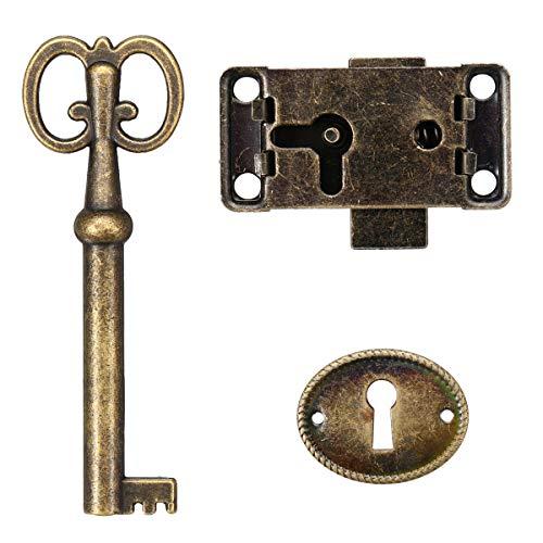 Unbekannt - Serratura antica per ante di armadietti, portagioie, beauty case, mobili, cassetti