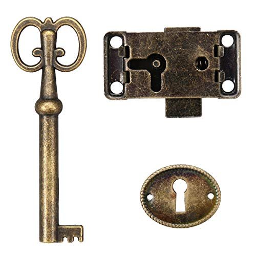 Unbekannt - Juego de cerradura y llave de estilo de joyería antigua para puerta de armario o cajón